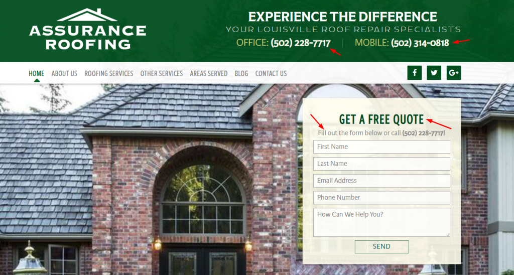 Calls To Action on Roofing Website