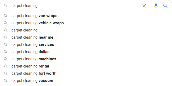Carpet Cleaning Google Autosuggest