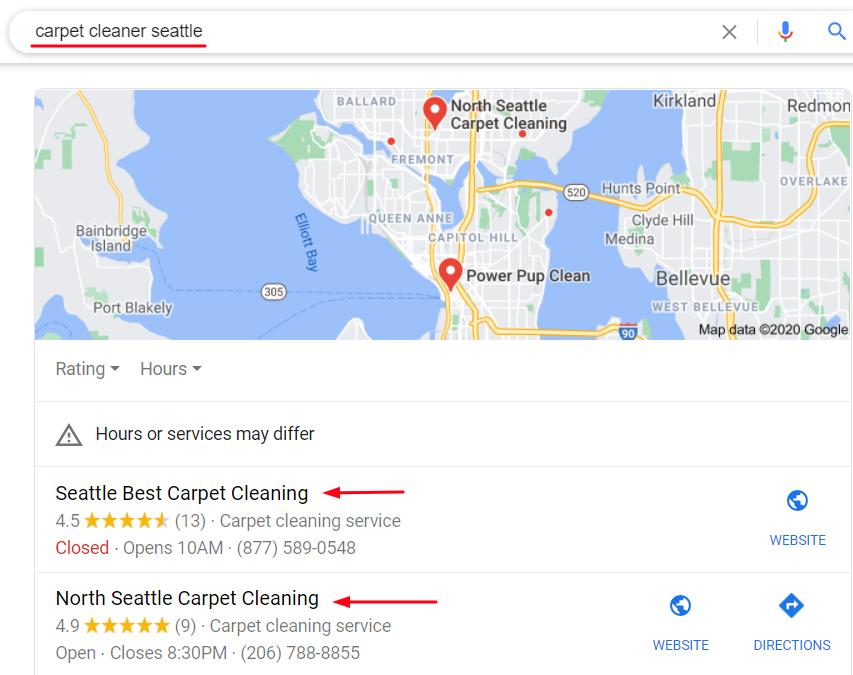 Carpet Google My Business Screenshot