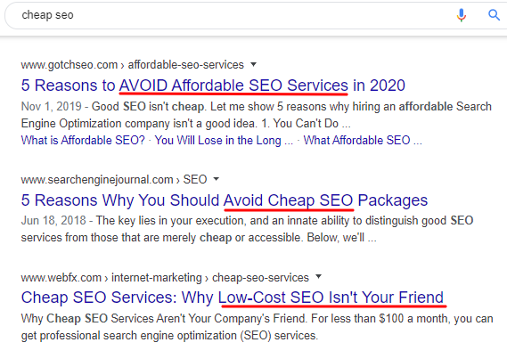 Cheap SEO Google Search Results