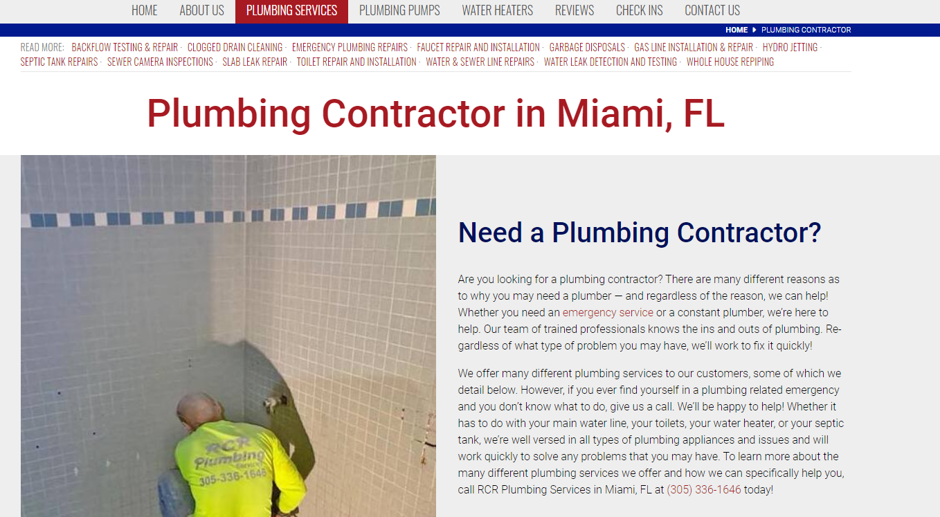 Content for Plumbing Website