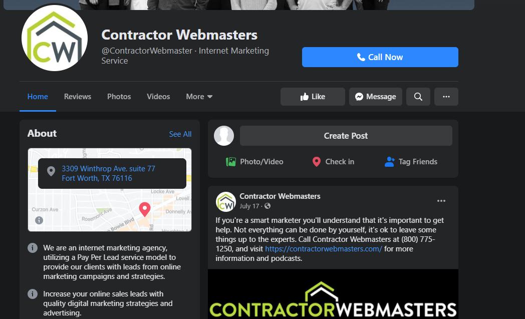 Contractor Webmasters Facebook