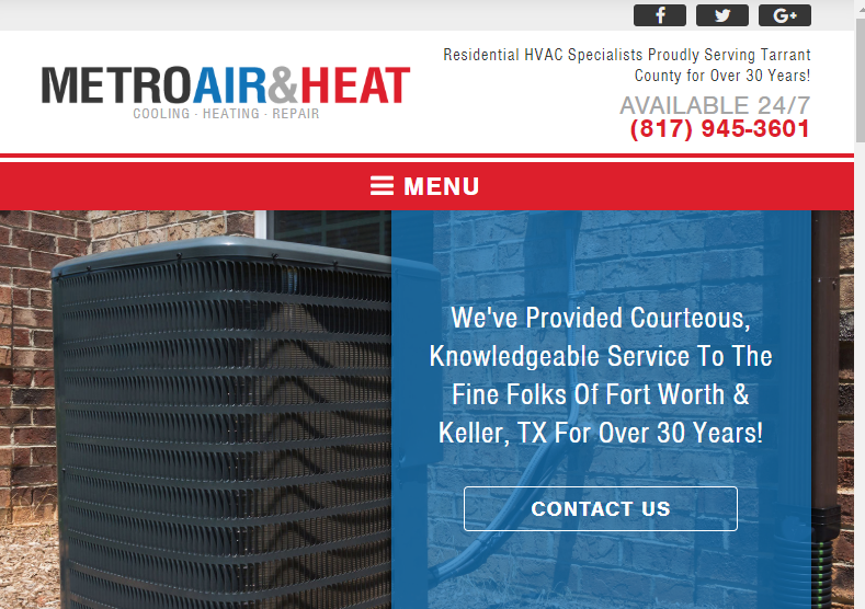 An HVAC Company's Homepage
