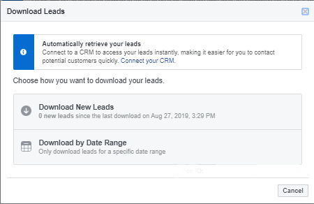 Download Facebook Leads for Follow Up