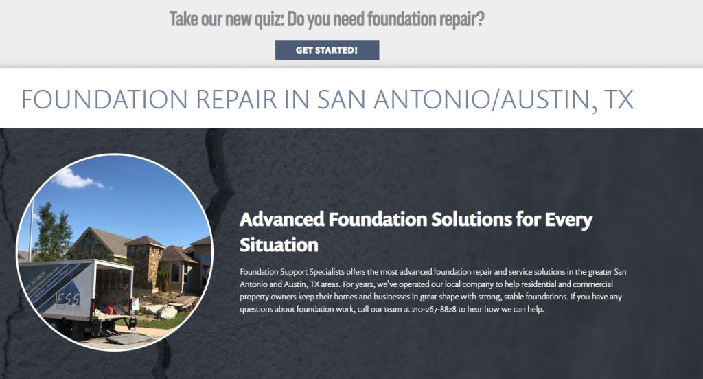 Foundation Repair Website Design San Antonio