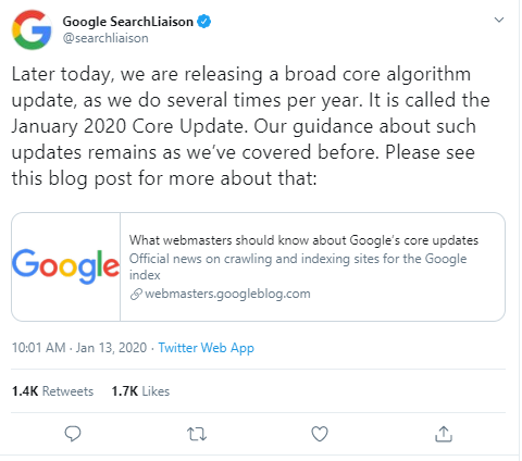 Google January 2020 Core Update Tweet