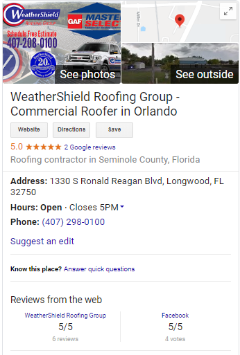 Google My Business Screenshot for Roofer