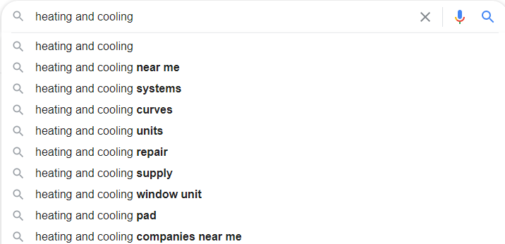 Heating & Cooling Google Autosuggest