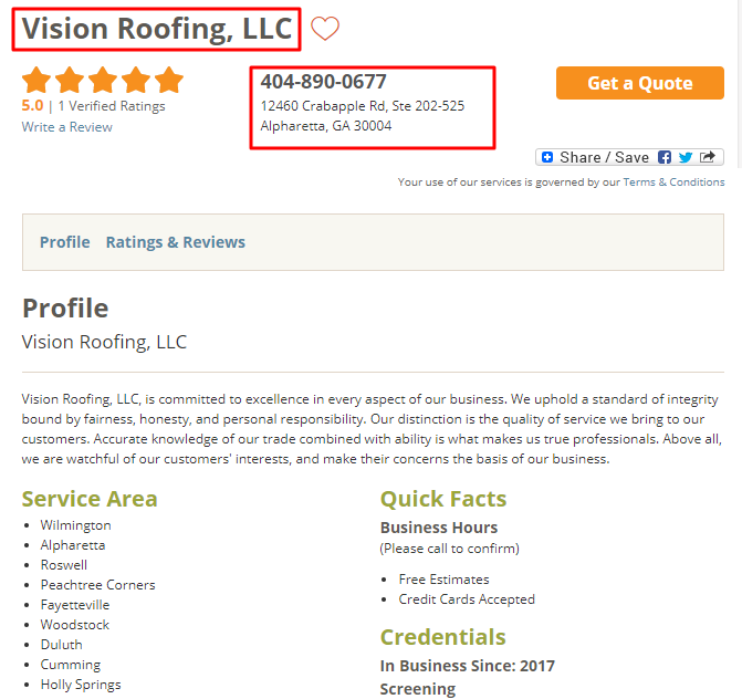 HomeAdvisor Roofer Listing