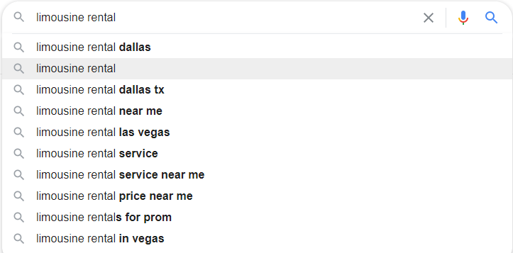 Limo Rental Google Autosuggest
