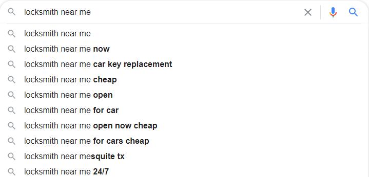 Locksmith Google Autosuggest