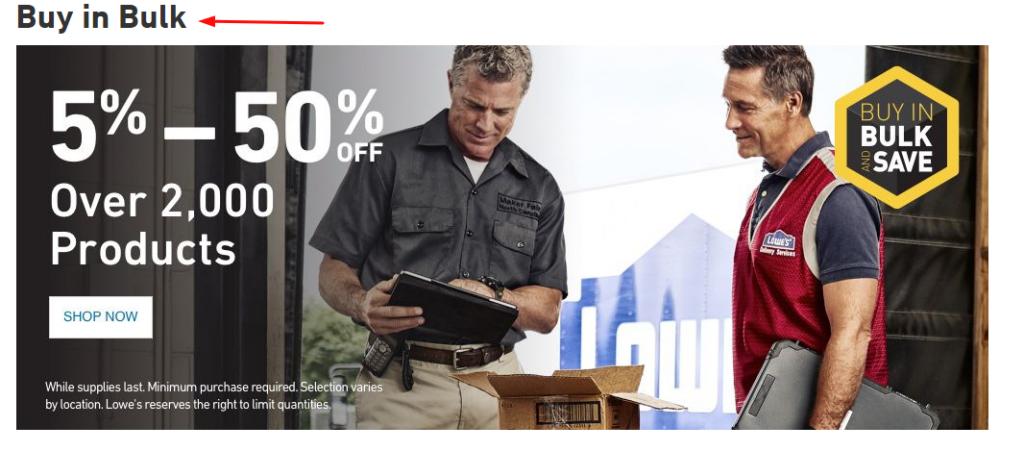 Lowe's Buy in Bulk (Screenshot)