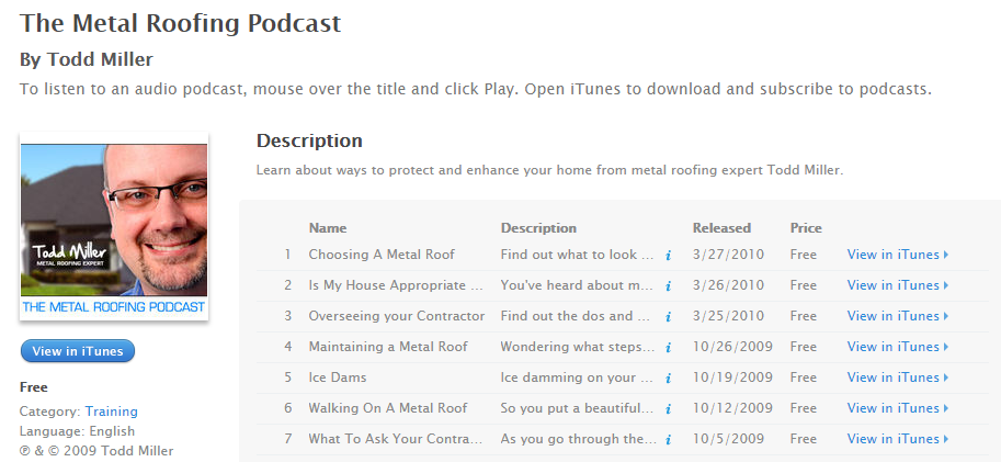 Metal Roofing Podcast