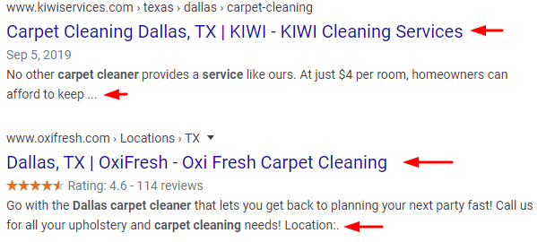 On-Page SEO Examples for Carpet Cleaners