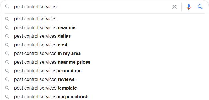Pest Control Google Autosuggest
