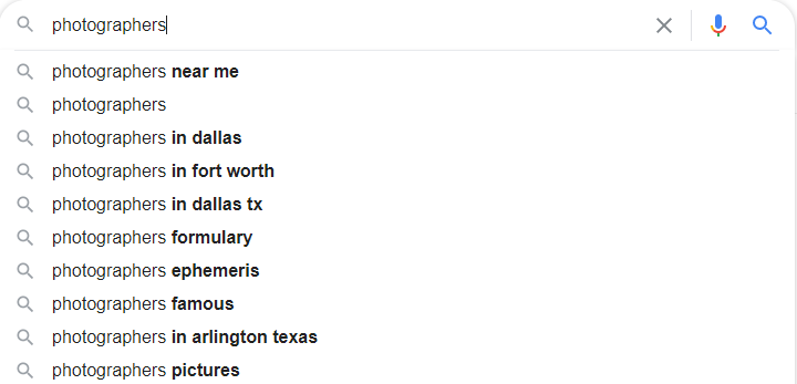 Photagrapher Google Autosuggest
