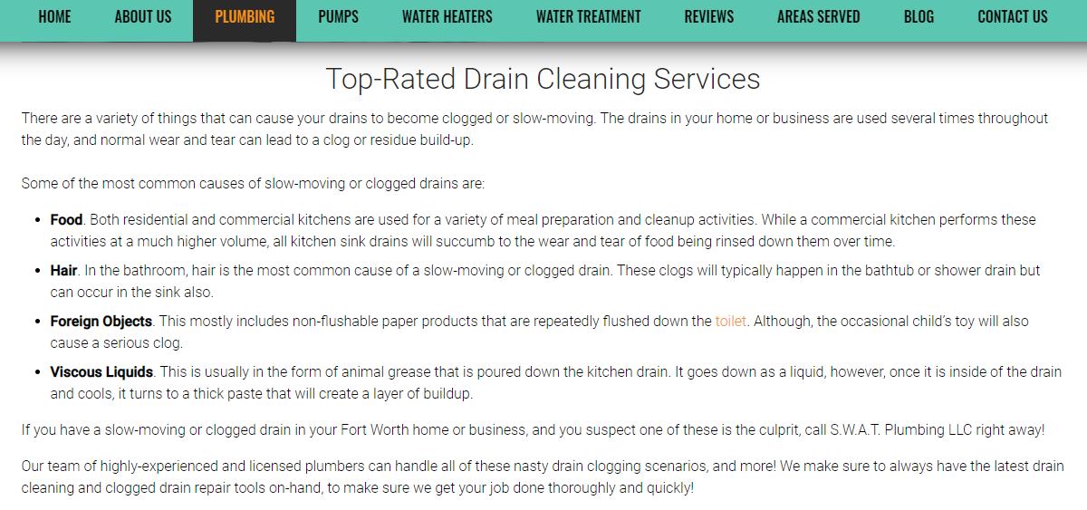 Plumbing Web Content Example