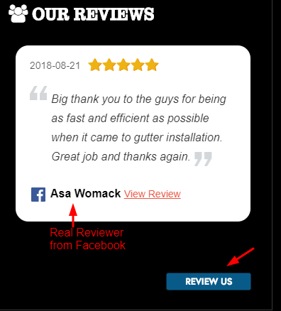 Reviews Widget on Roofing Website