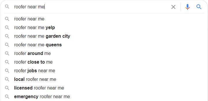 Roofer Google Autosuggest