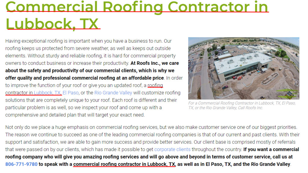 Roofing Keyword Placement