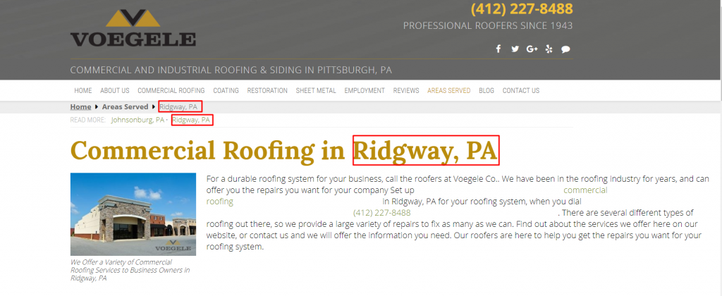 Roofing Location Page Example