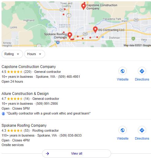 Spokane Contractor Maps Results