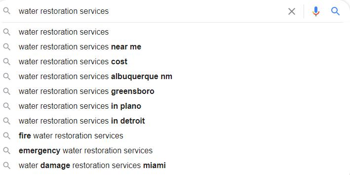 Water Restoratioin Google Autosuggest